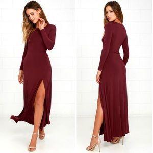 Lulus Swept Away Burgundy Maxi Dress Size M NWT